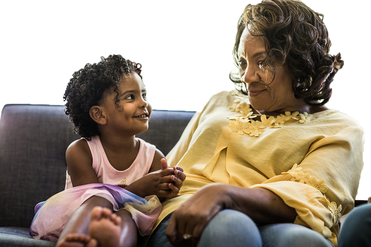 Senior African American woman with granddaughter